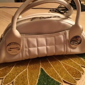 Off White Leather Handbag w/Quilting Detail